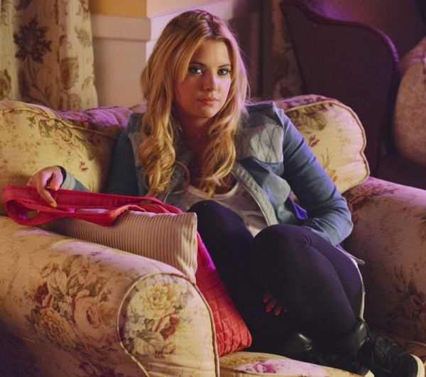 Hanna's denim criss cross jacket on PLL