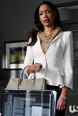 Jessica's white peplum blazer on Suits