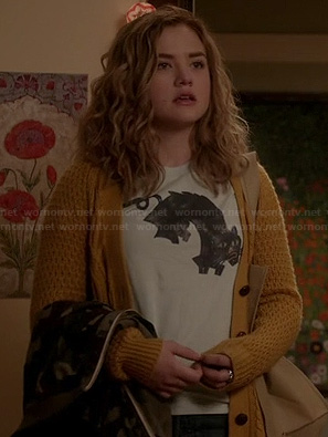 Jo's cat tee and yellow cardigan on Twisted