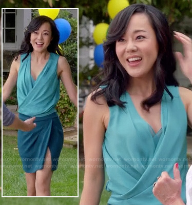 Karen's blue two tone draped dress on Mistresses