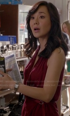 Karen's burgundy wrap sleeveless top on Mistresses