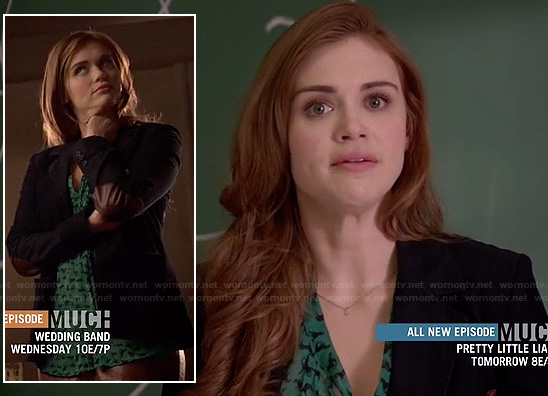 Lydia's green horse print top and elbow patch blazer on Teen Wolf