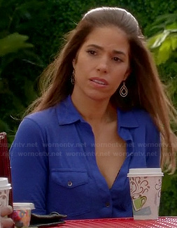 Marisol's blue button front shirt on Devious Maids