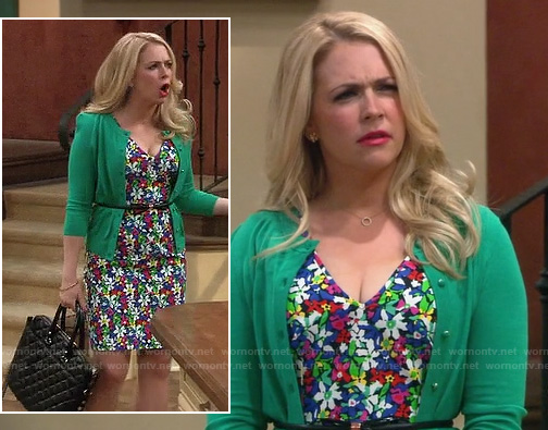 Mel's daisy floral dress with green cardigan on Melissa and Joey