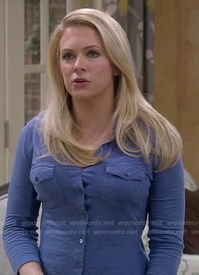 Melissa's blue collared top on Melissa and Joey