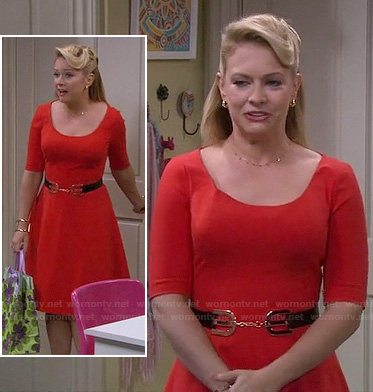 Mel's red elbow sleeve flared dress on Melissa and Joey