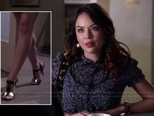 Mona's black and gold t-strap heels and floral button up top on Pretty Little Liars
