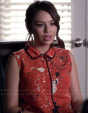 Mona's orange paint splatter print dress with collar on Pretty Little Liars