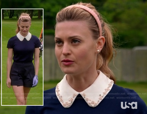 Paige's blue top with white beaded collar on Royal Pains