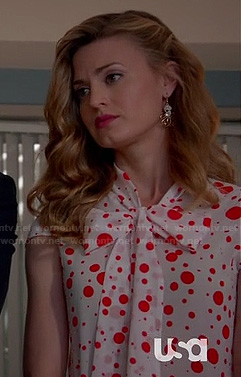 Paige's red polka dot top on Royal Pains