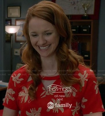 Parker's red orchid print dress with triangle cutout neckline on Switched at Birth
