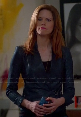 Peri's blue leather wrap style jacket on Devious Maids