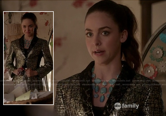 Phoebe's gold matching blazer and skirt on Twisted