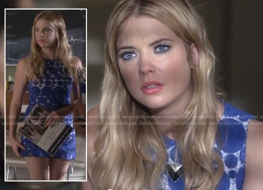 Hanna's blue polka dot mini dress and triangle necklace on Pretty Little Liars