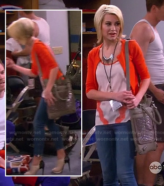 Rileys top with orange lace stripes and contrast ankle booties on Baby Daddy