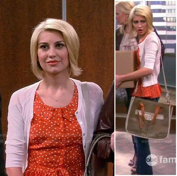 Riley's orange button front studded collar blouse on Baby Daddy