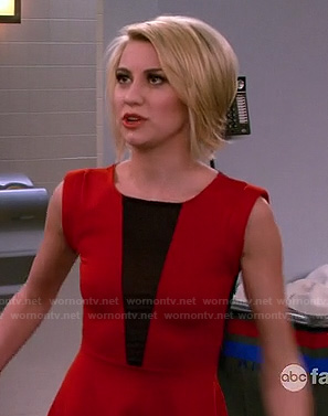 Riley's red and black mesh insert dress on Baby Daddy