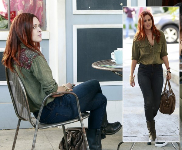 Rumer Willis's green acid wash shirt on Pretty Little Liars