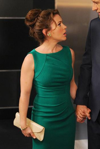 Savi's green curve-pleated dress on Mistresses