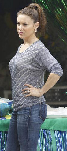 Savannah's grey and white striped dolman sleeve tee on Mistresses