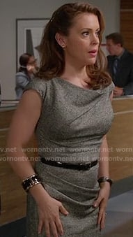 Savannah's grey folded neck dress on Mistresses
