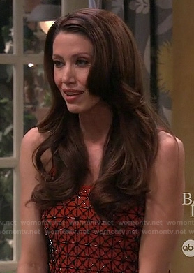 Anita (Shannon Elizabeth)'s orange beaded top on Melissa & Joey
