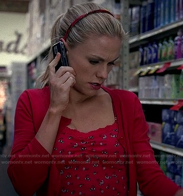 Sookie's red printed cami with lace trim on True Blood