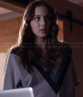 Spencer's chevron/triangle colorblock sweater on Pretty Little Liars