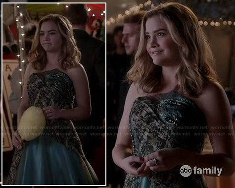 Jo's strapless formal gown on Twisted