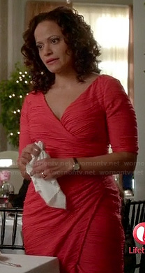 Zoila's red wrap dress with seam texture on Devious Maids