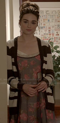 Allison's sheer floral print dress and black and white striped cardigan on Teen Wolf