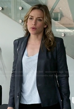 Annie's blue grey leather jacket on Covert Affairs