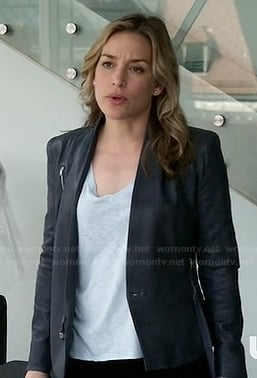 Annie's blue/grey leather jacket on Covert Affairs
