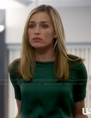 Annie's green short sleeve blouse on Covert Affairs