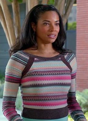 April's pink and brown striped sweater on Mistresses