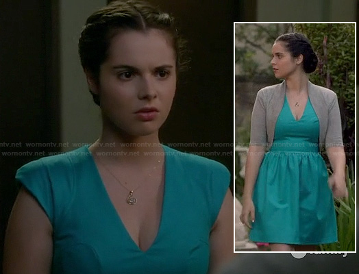 Bay's turquoise blue v-neck dress on Switched at Birth