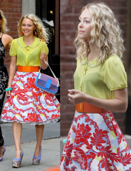 Carrie's red and white patterned full skirt on The Carrie Diaries