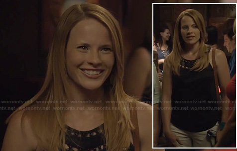 Daphne's navy eyelet and bead detail top on Switched at Birth