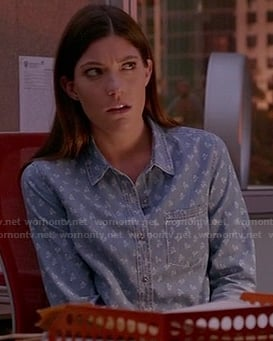Debra's floral printed chambray shirt on Dexter