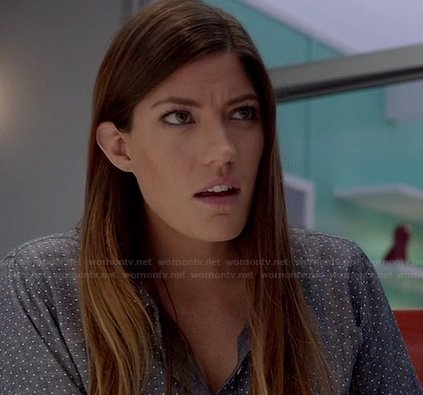 Debra's chambray polka dot shirt on Dexter