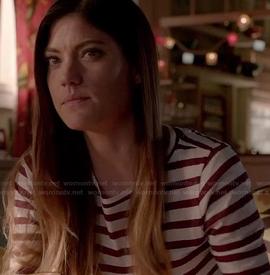 Debra's red and white striped tee on Dexter