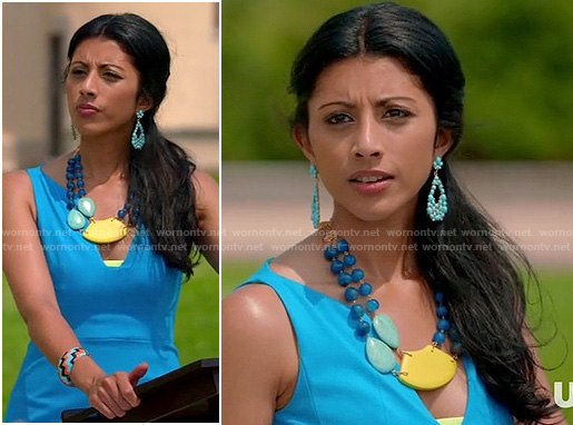 Divya's blue vneck dress on Royal Pains