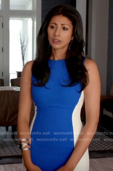 Divya's blue and white colorblock dress on Royal Pains