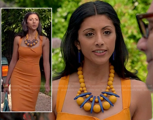 Divya's orange pencil dress and blue and orange statement necklace on Royal Pains