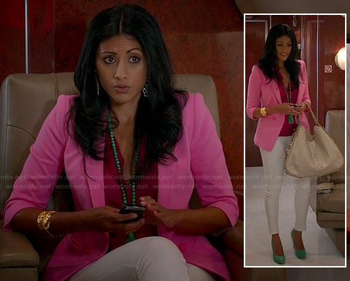 Divya's pink blazer on Royal Pains