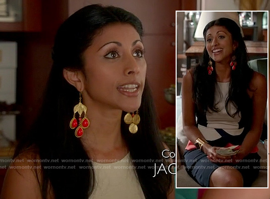 Divya's scalloped peplum top on Royal Pains
