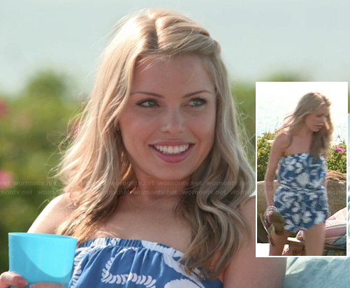 Emily's blue and white rope printed strapless romper on The Vineyard