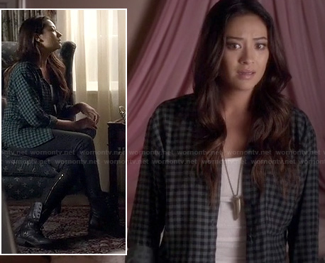 Emily's grey/green gingham check shirt on Pretty Little Liars