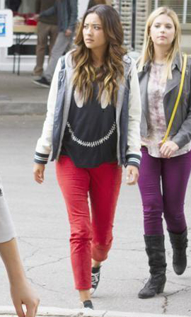 Emily's zip smiley face tee on PLL