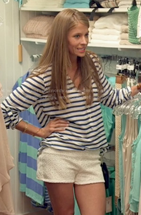 Gabby's white eyelet shorts and navy striped blouse on The Vineyard